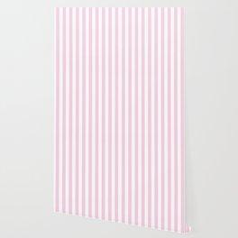 Pastel pink white modern geometric stripes Wallpaper