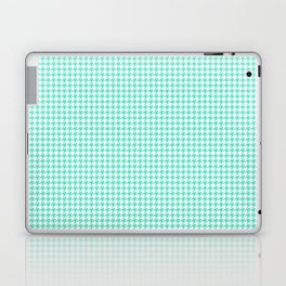 Aqua Blue And White Hounds-tooth Check Laptop & iPad Skin