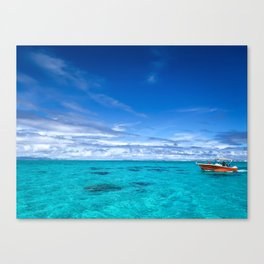 South Pacific Crystal Ocean Dreamscape with Boat Canvas Print