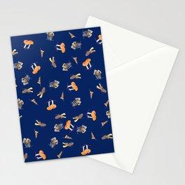 Mushroom Pattern - Navy Blue Stationery Cards