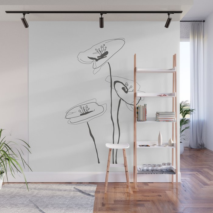 Line Art of Flowers Wall Mural