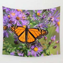 Monarch Butterfly on Wild Aster Flower Wall Tapestry