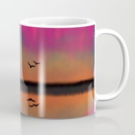 Northern Lights Sunset Lake Coffee Mug
