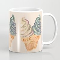 treat yo self Mugs featuring Treat Yo' Self by Suburban Bird Designs