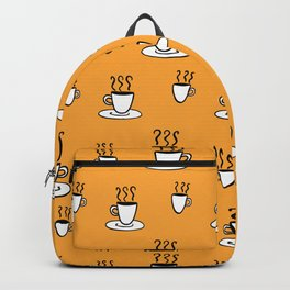Coffe mug pattern in mustard yellow Backpack