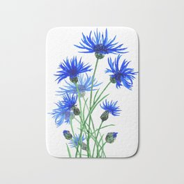 blue cornflower Bath Mat