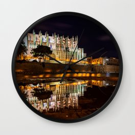 Photos Church Majorca Mallorca Spain Catedral La Seu Reflection river Temples night time Houses Cities reflected Night temple Rivers Building Wall Clock