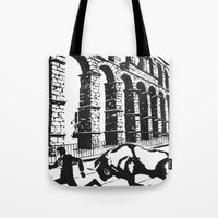 spain Tote Bags featuring Spain by Carolyn Campbell