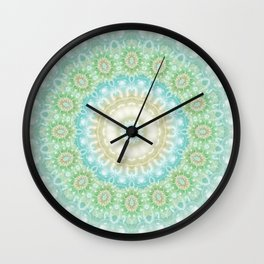 Earth and Sky Mandala in Pastel Blue and Green Wall Clock