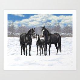 Beautiful Black Quarter Horses In Snow Art Print