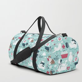 Veterinary medicine, happy and healthy friends // aqua background Duffle Bag