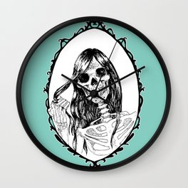 Skull In The Mirror Aquamarine Background Wall Clock