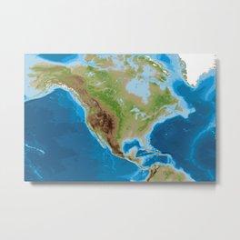 Topographic map of North America Metal Print