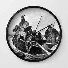 Vikings Landing in Iceland Illustration (1909) Wall Clock