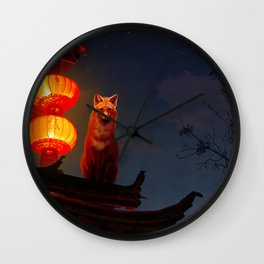 Fox Shrine Guardian  Wall Clock