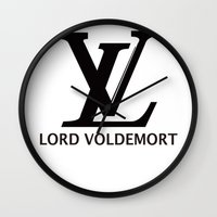 lv Wall Clocks featuring LV Lord Voldemort  by A Fuckin' Teenage Tragedy