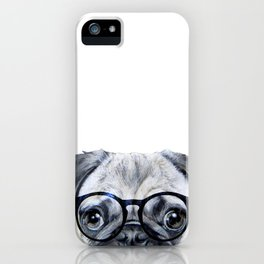 Pug with glasses Dog illustration original painting print iPhone Case