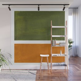 Olive Green Yellow Ochre Minimalist Abstract Colorful Midcentury Pop Art Rothko Color Field Wall Mural
