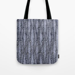 Metallic threads with beads on gray grungy background. Tote Bag