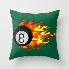 Flaming 8 Ball Throw Pillow