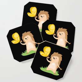 Hedgehog and Butterfly | Cute Animals Coaster