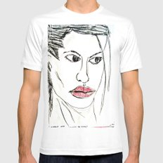 ANGELINA JOLIE SMALL White Mens Fitted Tee
