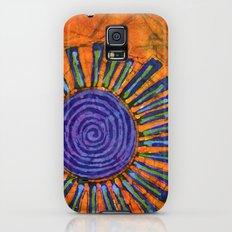Orange and purple Floral batik Galaxy S5 Slim Case