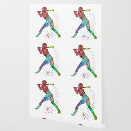 Baseball Softball Player Sports Art Print Watercolor Print Girl's softball Wallpaper