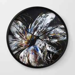 white flower on black background, painted Wall Clock