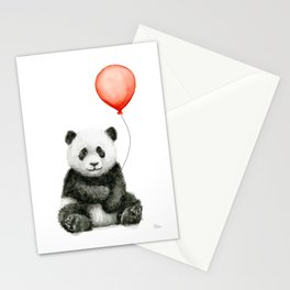 Baby Panda and Red Balloon Stationery Cards