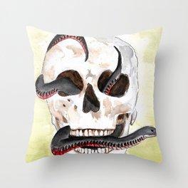 Red-Belly Black Snake Skull Throw Pillow