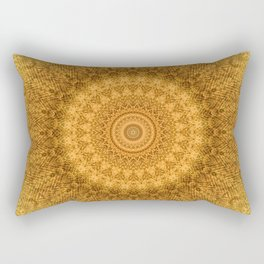 Sunflower Feather Bohemian Sun Ray Pattern \\ Aesthetic Vintage \\ Yellow Orange Color Scheme Rectangular Pillow