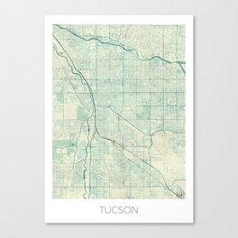 Tucson Map Blue Vintage Canvas Print