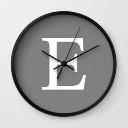 Darker Gray Basic Monogram E Wall Clock