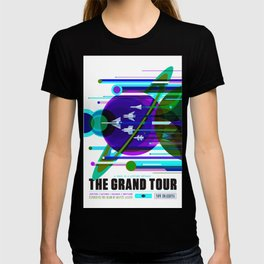 NASA Space Saturn Shuttle Retro Futuristic Explorer Blue T-shirt