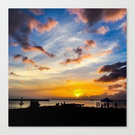 Sunset at Beach n Oahu, HI Canvas Print