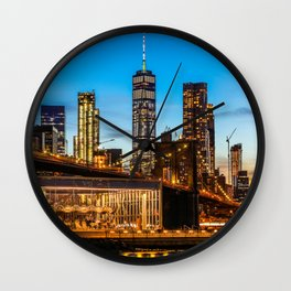 Freedom Tower and Brooklyn Bridge, New York City 1 Wall Clock
