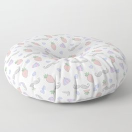 Strawberries and Moustaches Summer Pattern Floor Pillow