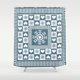 Winter Snowflake Christmas Pattern Shower Curtain