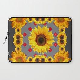 Western Blanket Style Sunflowers Grey Art Laptop Sleeve