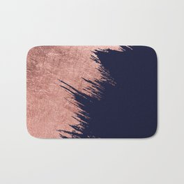 Navy blue abstract faux rose gold brushstrokes Bath Mat