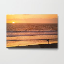 Surfer watching sunset in Southern California Metal Print