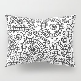 Squiggle Doodle in Black and White Pillow Sham