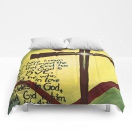 God Is Love Cross Comforters