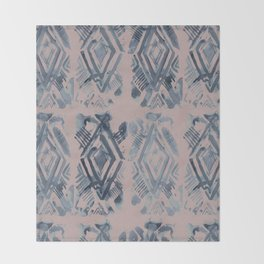Simply Ikat Ink in Indigo Blue on Clay Pink Throw Blanket