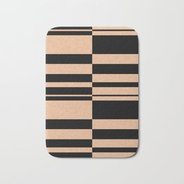 Abstract striped pattern. black and beige. Bath Mat