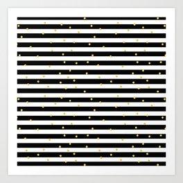 Modern black white gold polka dots striped pattern Kunstdrucke