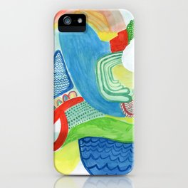 Blue Red Green Abstract iPhone Case