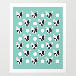 French Bulldog pattern polka dogs dog head funny dog meme cute gift for a dog lover frenchie owner Art Print
