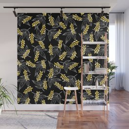 Sunshine yellow black white abstract floral illustration Wall Mural